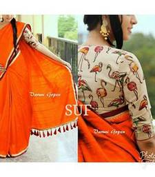Buy Orange plain chanderi silk saree with blouse chanderi-saree online