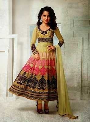 Heavy embroidery worked designer anarkali suit by kangana