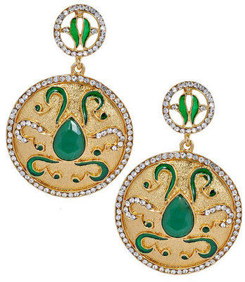 Exclusive Green Indian Ethnic Push-Back Drop Earrings