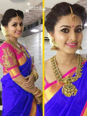 light_blue plain chanderi saree with blouse
