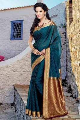Peacock Blue cot silk weaved saree in maroon & gold weaved pallu