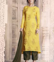 Buy Yellow embroidered silk salwar with dupatta salwars-and-churidar online