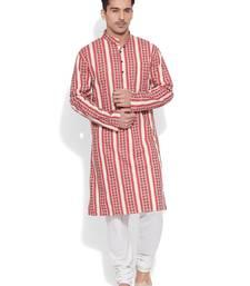 Buy red cotton printed stitched kurta kurta-pajama online