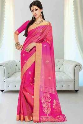 Pinkish orange silk zari weaved saree in golden border & pink blouse