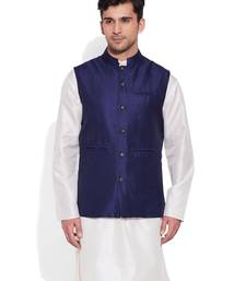 Buy navy printed stitched nehru jacket men-festive-wear online