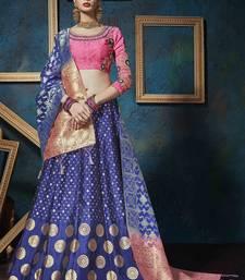 Buy Blue hand woven jacquard unstitched lehenga with dupatta bridal-lehenga online