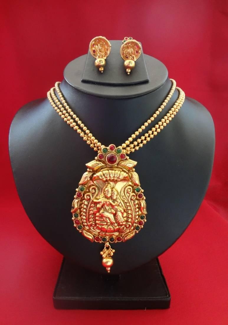 Buy radha krishna pendant necklace in golden beads with jhumkas online radha krishna pendant necklace in golden beads with jhumkas aloadofball Images