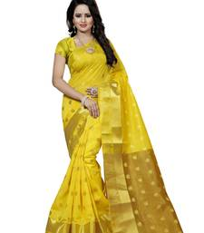Buy Yellow hand woven art silk saree with blouse banarasi-saree online