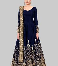 Buy Blue embroidered silk salwar ethnic-suit online