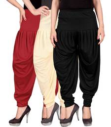 Buy Red cream black stirped combo pack of 3 free size harem pants harem-pant online