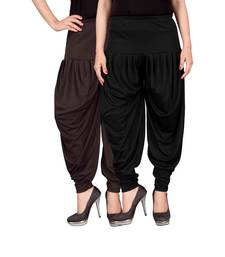 Buy Brown black stirped combo pack of 2 free size harem pants harem-pant online