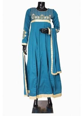 Blue Color New Anarkali Salwar Kameez with Heavy Neck