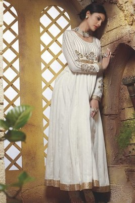 White Color New Anarkali Salwar Kameez with Heavy Neck