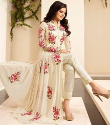 Buy Off white embroidered georgette salwar ethnic-suit online