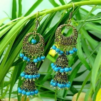 Double Jhumki Drop Golden Aqua Oxidized Earring