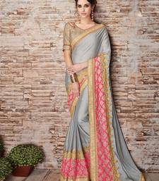 Buy Grey embroidered chiffon saree with blouse diwali-sarees-collection online