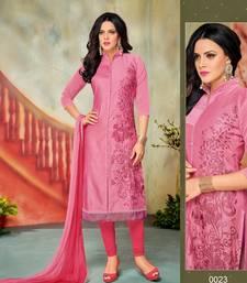Buy Pink embroidered chanderi salwar with dupatta salwar-kameez online