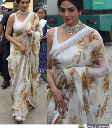 Buy White embroidered georgette saree with blouse designer-embroidered-saree online
