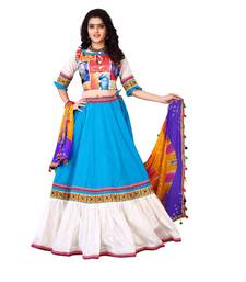Buy Sky blue printed cotton semi stitched