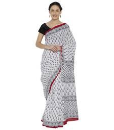 Buy White printed cotton saree printed-saree online