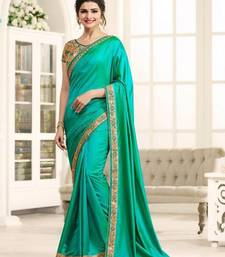 Buy Green plain paper cotton saree with blouse bollywood-saree online