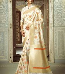 Buy White woven silk saree with blouse handloom-saree online