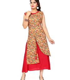 Buy Multicolor printed rayon stitched long kurtis long-kurtis online