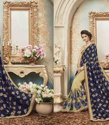 Buy Blue embroidered silk saree with blouse bridal-saree online