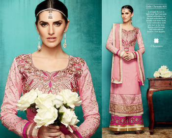 Pink Colour Art Silk Embroidered Straight cut Semi Stiched Dress Material