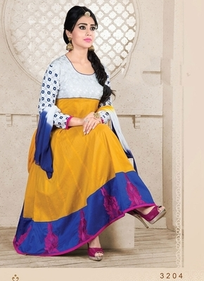 Yellow Colour Embroidered Cotton  Semi Stitched anarkali suit