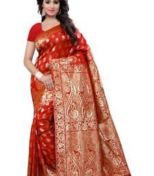 Buy Red printed banarasi cotton saree with blouse banarasi-saree online