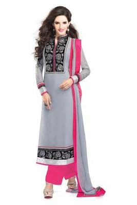 Grey Embroidered Georgette Semistitched