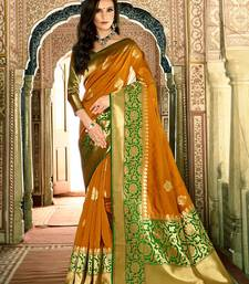 Buy Dark mustard woven silk saree with blouse diwali-sarees-collection online