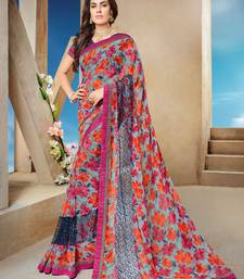 Buy Grey printed georgette saree with blouse diwali-sarees-collection online