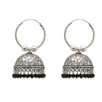 Black Color Beads Oxidised Earrings Jewellry