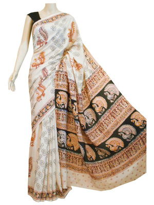 Cream silk Kalamkari saree with blouse