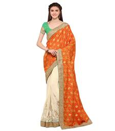 Buy Orange embroidered faux jacquard saree with blouse designer-embroidered-saree online