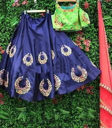 Buy Blue embroidered silk unstitched lehenga with dupatta lehenga-choli online