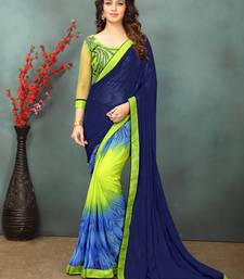 Buy Sky blue printed georgette saree with blouse printed-saree online