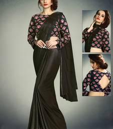 Buy Black embroidered fancy fabric saree with blouse pre-stitched-saree online