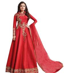Buy Red embroidered Bangalore Silk semi stitched salwar with dupatta pakistani-salwar-kameez online