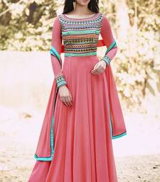 Buy Peach embroidered georgette salwar with dupatta collar-neck-design online