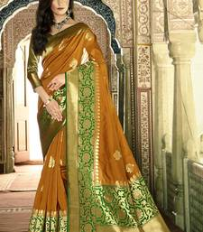 Buy Mustard woven silk saree with blouse handloom-saree online