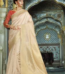 Buy Off white woven silk saree with blouse handloom-saree online