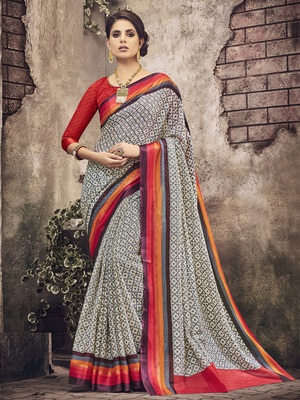 Beige printed silk cotton saree with blouse