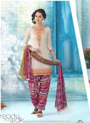 Designer Off White Patiala Style Dress