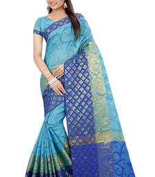 Buy Blue plain banarasi silk saree with blouse banarasi-saree online