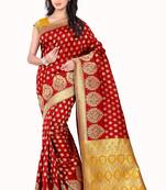 Buy Red woven poly cotton saree with blouse