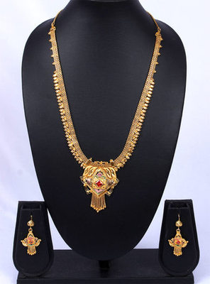 Traditional Gold Pink Stone Studded Chain Pendant Necklace Set