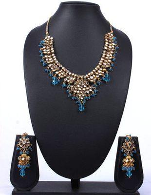 Kundan Blue Beads Jhaalar Jhumka Necklace Set